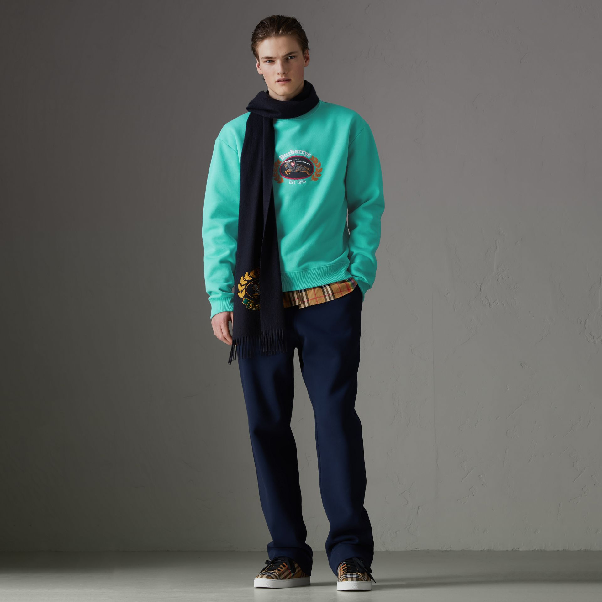 Sweat-shirt en jersey revisité (Aqua) - Homme | Burberry - photo de la galerie 0