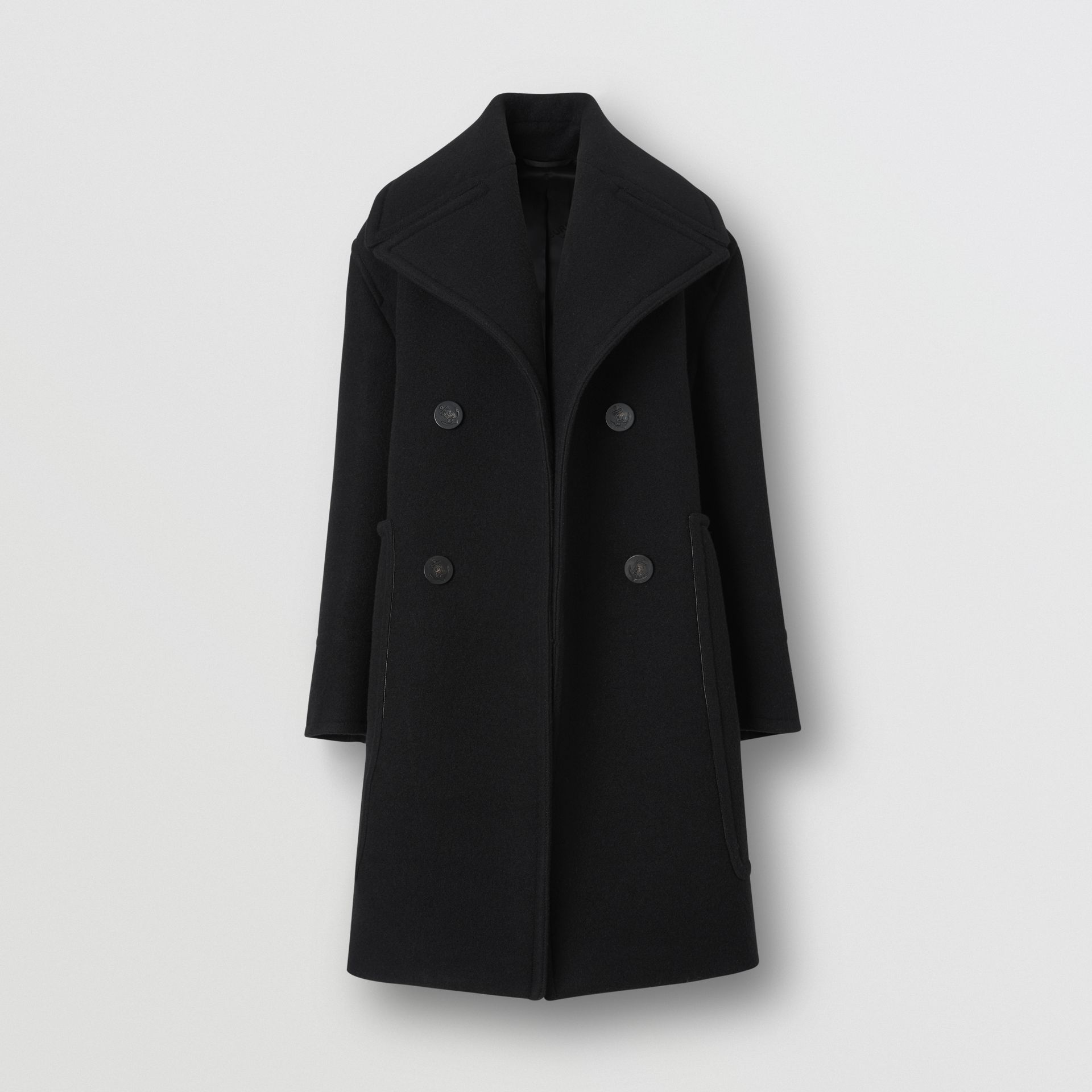 Wool Oversized Pea Coat in Black - Women | Burberry - gallery image 3