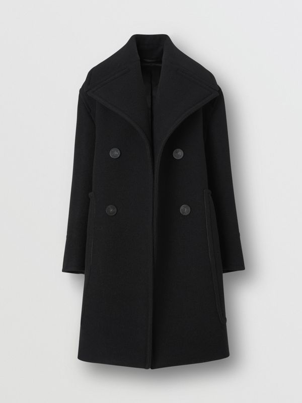 Wool Oversized Pea Coat in Black - Women | Burberry - cell image 3