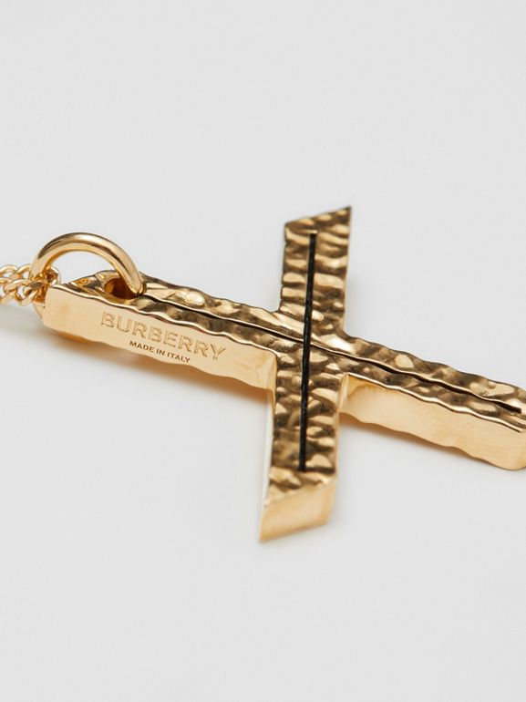 'X' Alphabet Charm Gold-plated Necklace in Light - Women | Burberry United Kingdom - cell image 1