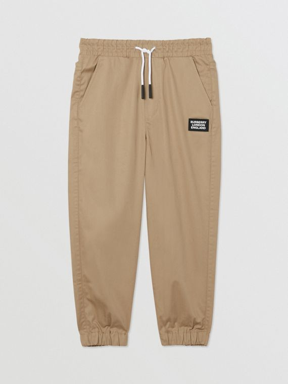 Logo Appliqué Cotton Twill Trackpants in Honey