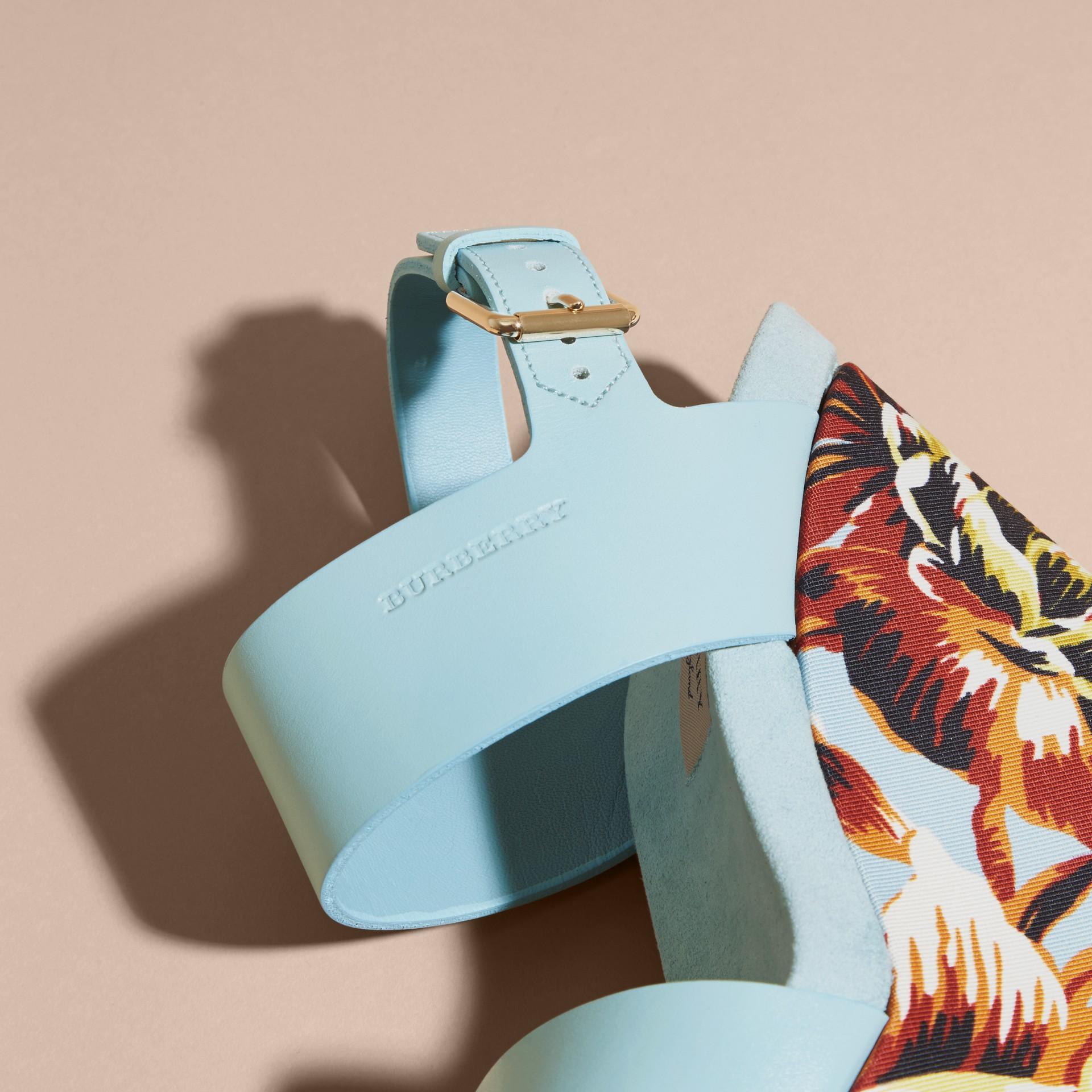 Peony Rose Print Leather Platform Wedges Vibrant Orange - gallery image 2