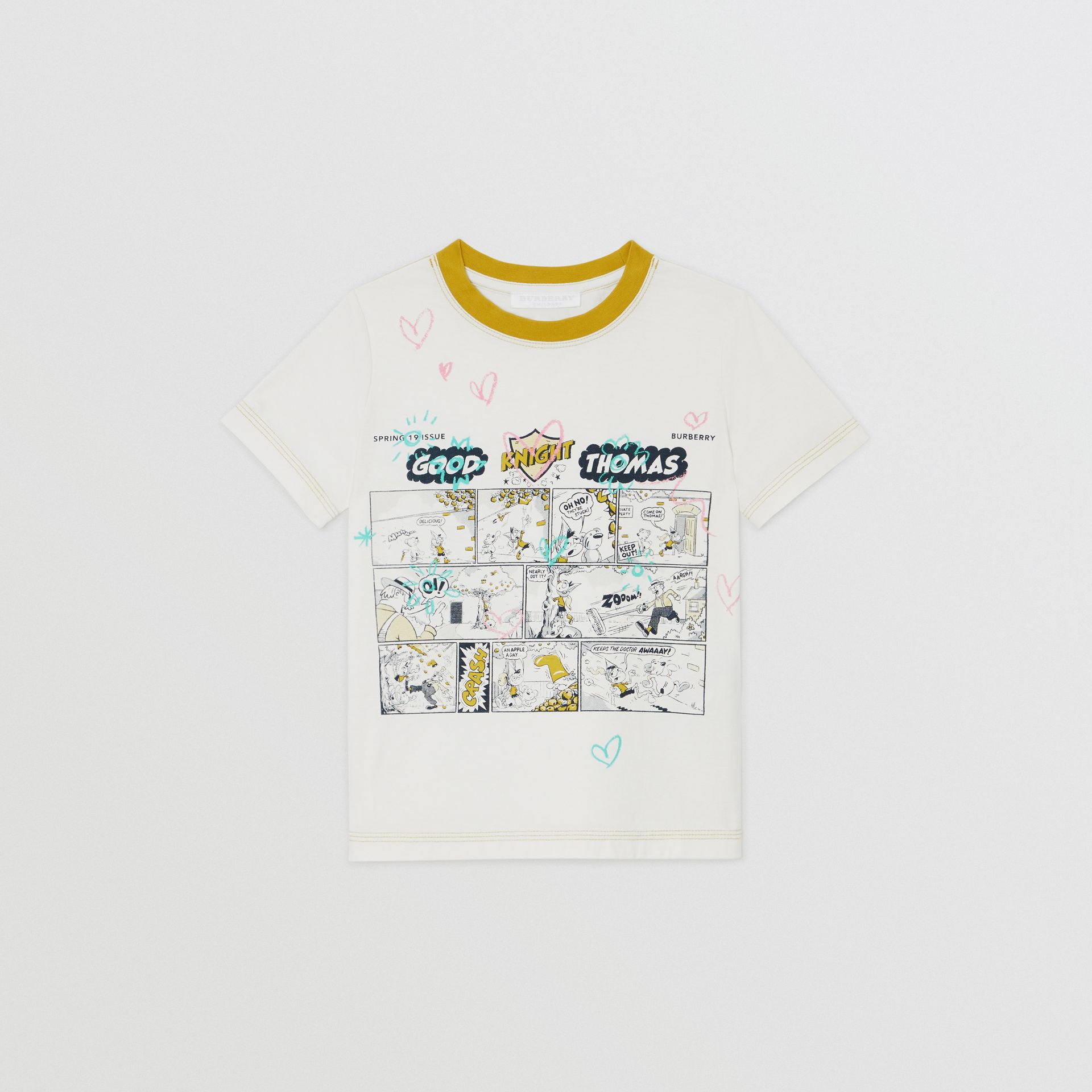 Comic Strip Print Cotton T-shirt in Light Stone | Burberry - gallery image 0