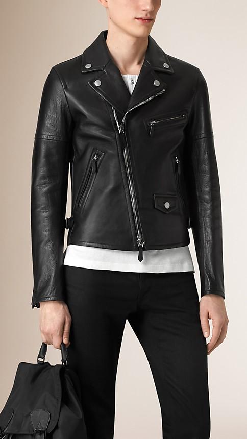 Black Leather Biker Jacket - Image 2