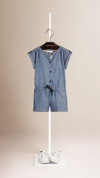 Check Placket Cotton Playsuit