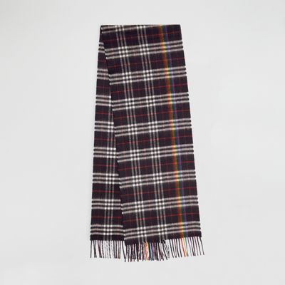 Men'S Rainbow Vintage-Check Cashmere Scarf in Navy / Rain