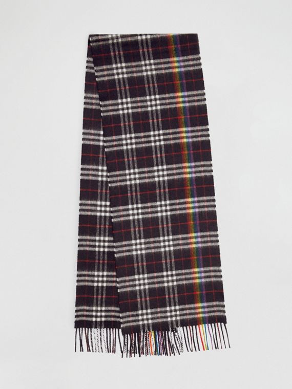 The Classic Rainbow Check Cashmere Scarf in Navy/rainbow