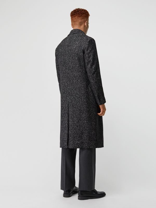 Detachable Shearling Collar Wool Silk Blend Coat in Black - Men | Burberry - cell image 2