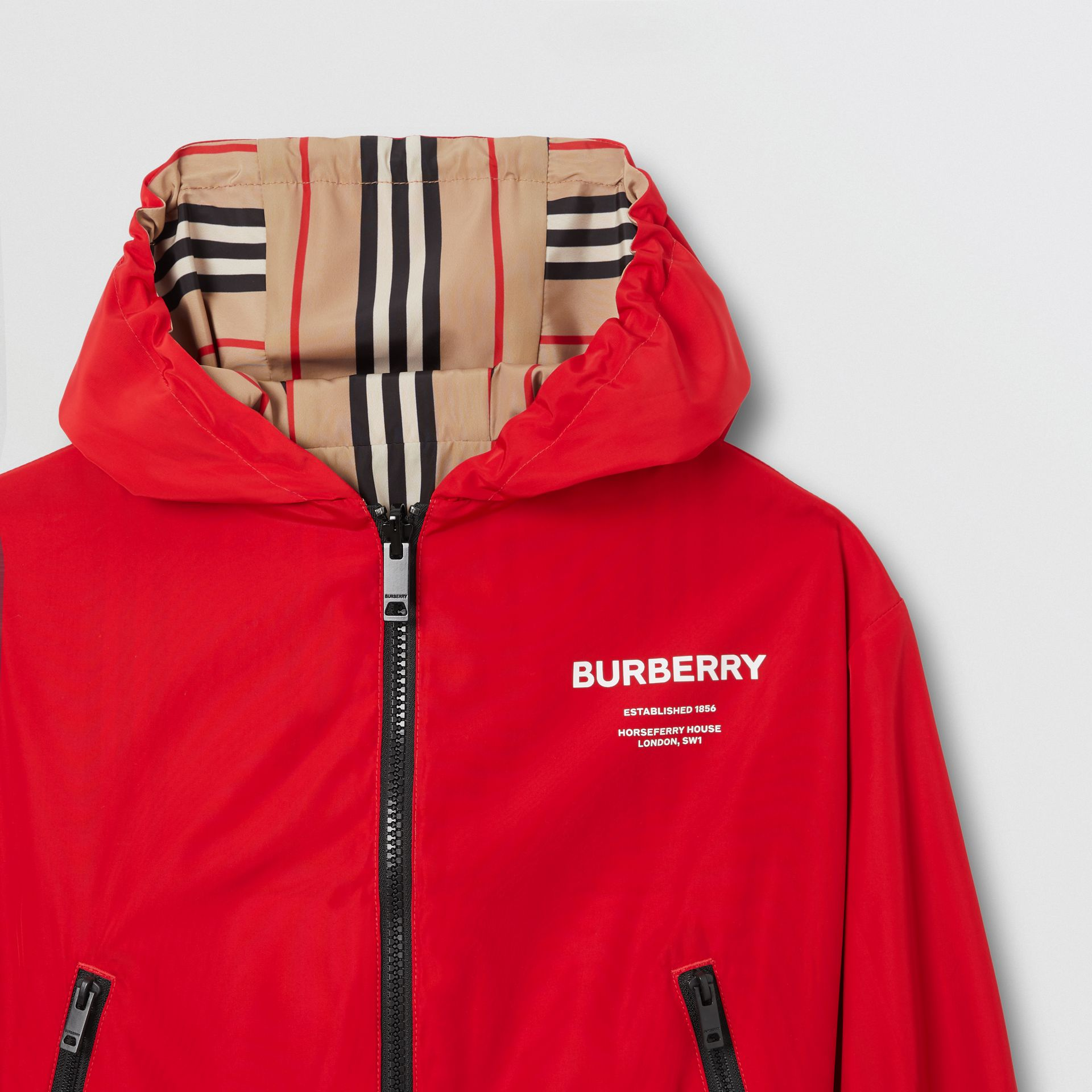 Reversible Icon Stripe Hooded Jacket in Bright Red | Burberry - gallery image 6