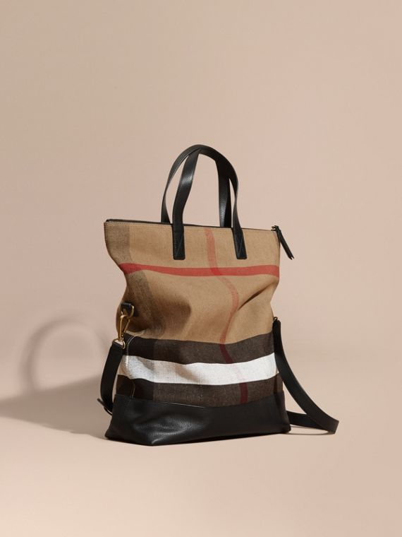 Borsa messenger ripiegabile con pelle e motivo Canvas check