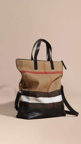 Canvas Check and Leather Folding Messenger Bag