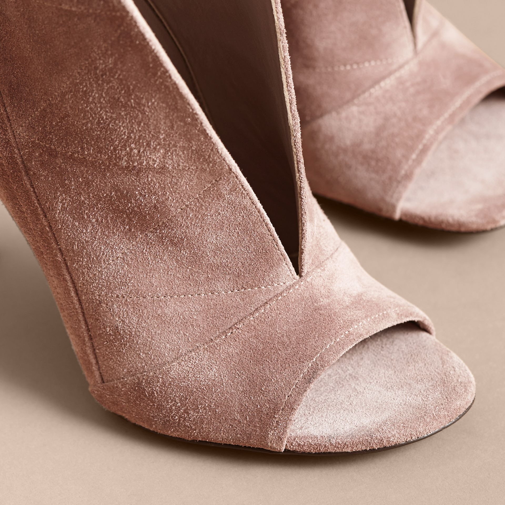Buckle Detail Suede Peep-toe Ankle Boots in Ivory Pink - Women | Burberry - gallery image 5