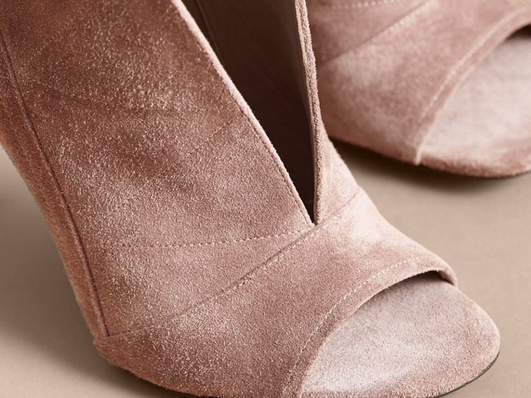 Buckle Detail Suede Peep-toe Ankle Boots in Ivory Pink - Women | Burberry - cell image 4