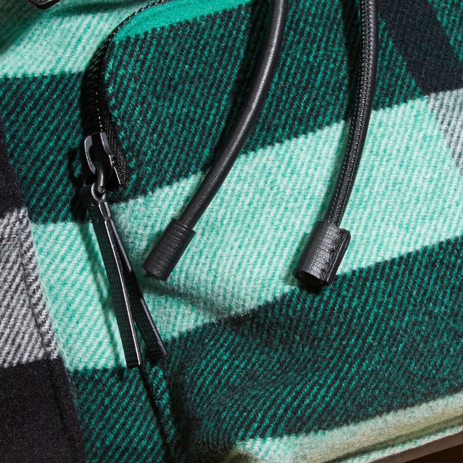 Emerald The Large Rucksack in Check Wool Blend and Leather Emerald - gallery image 7