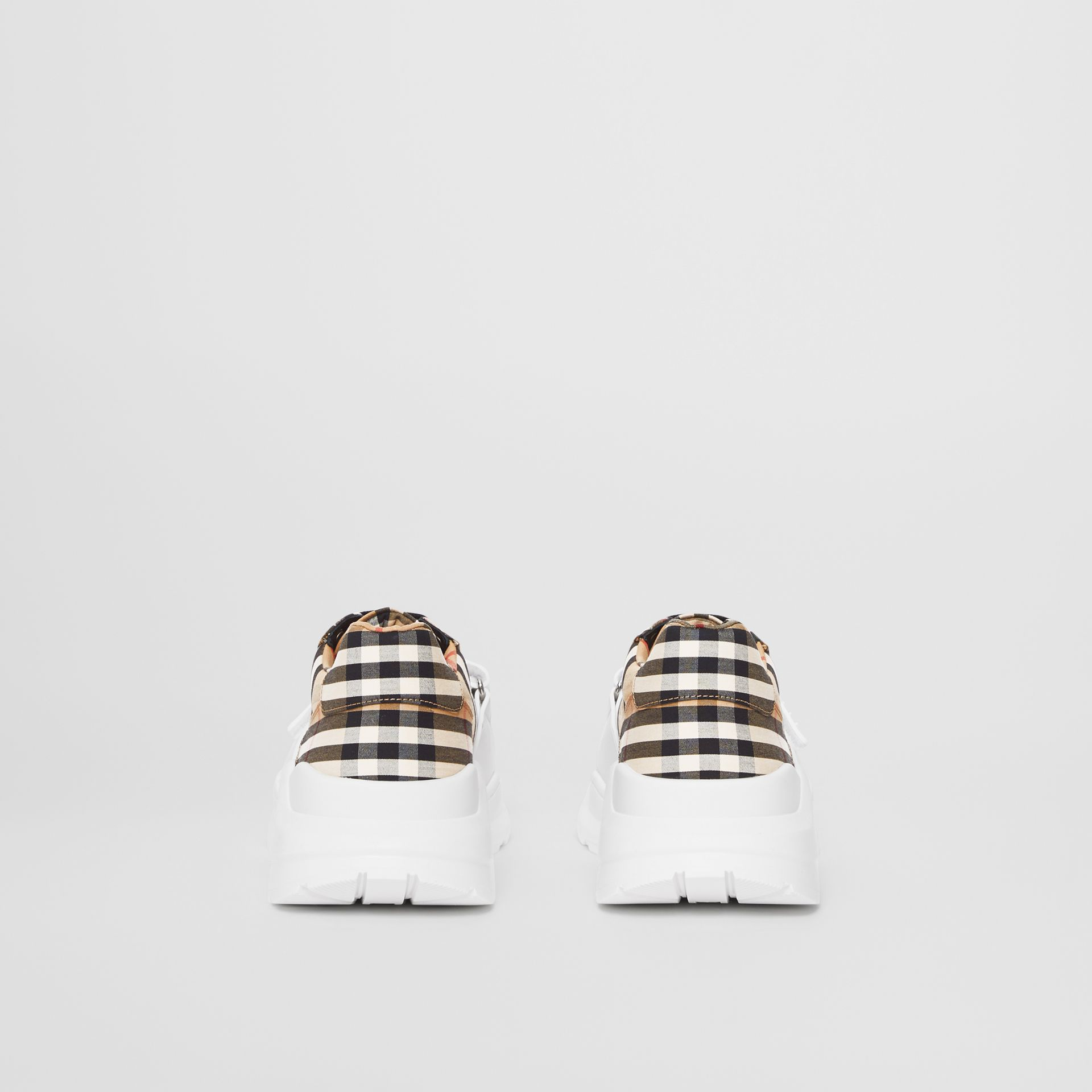 Vintage Check Cotton Sneakers in Archive Beige - Men | Burberry - gallery image 3