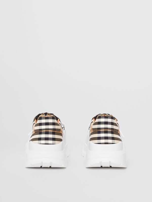 Vintage Check Cotton Sneakers in Archive Beige - Men | Burberry United Kingdom - cell image 3