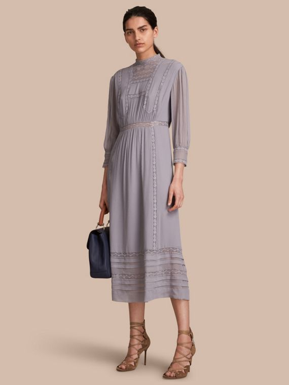 Lace Detail Silk Crepon Dress - Women | Burberry
