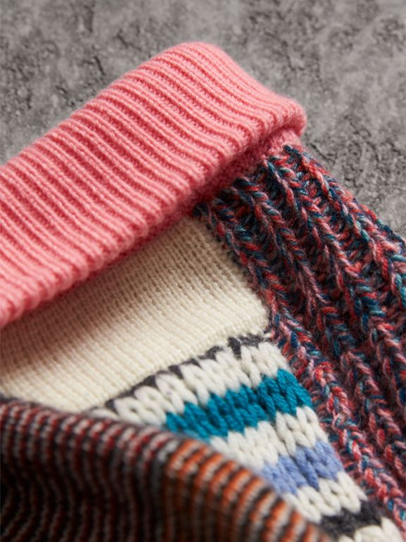 Pom-pom Wool Cashmere Patchwork Beanie in Natural White/pink - Women | Burberry - cell image 1