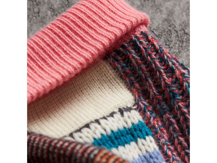 Pom-pom Wool Cashmere Patchwork Beanie in Natural White/pink | Burberry - cell image 1
