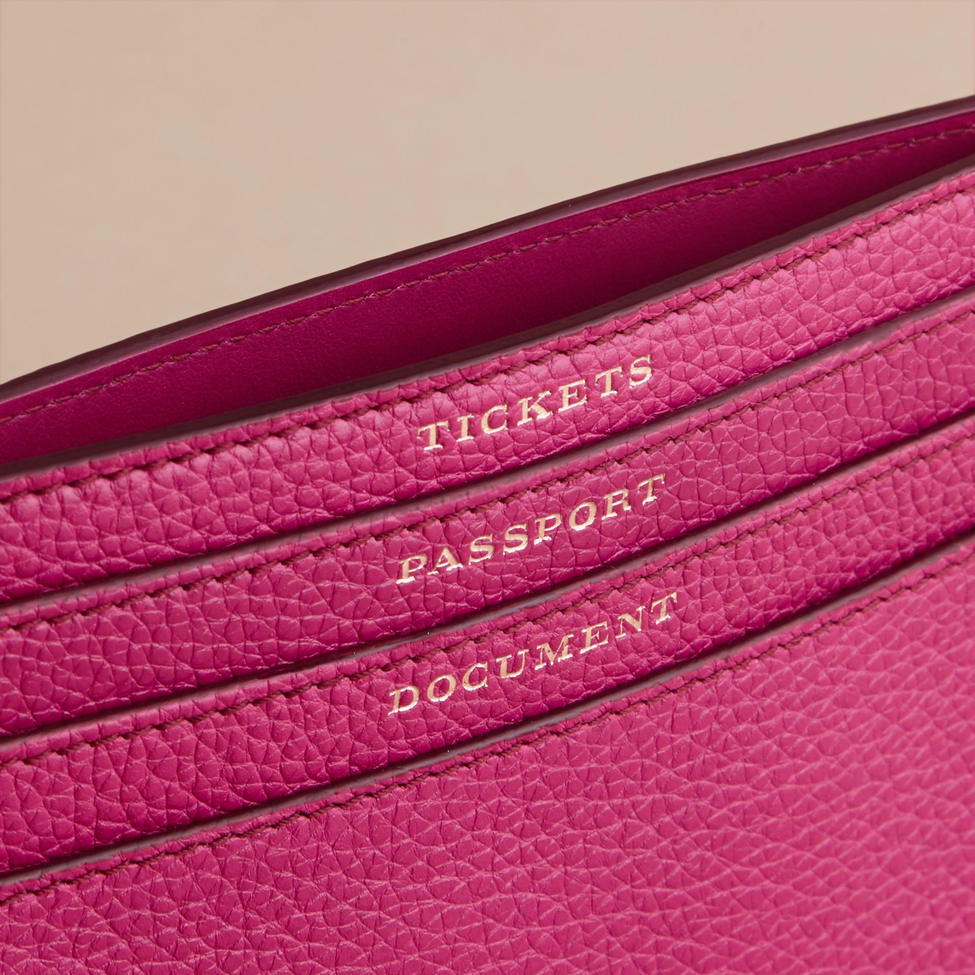 Grainy Leather Travel Case in Brilliant Fuchsia - Women | Burberry Singapore - gallery image 2