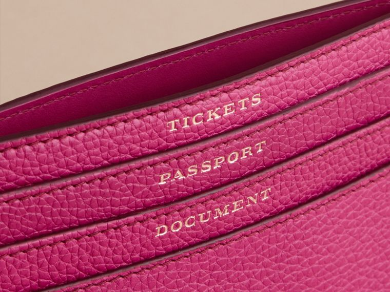 Grainy Leather Travel Case in Brilliant Fuchsia - Women | Burberry - cell image 1