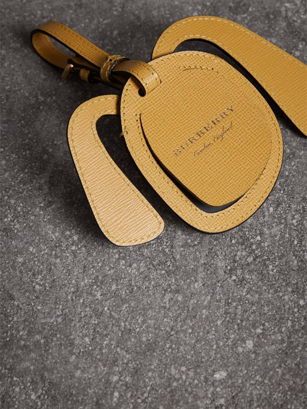 Dog Appliqué Leather and Haymarket Check Luggage Tag in Black | Burberry - cell image 3