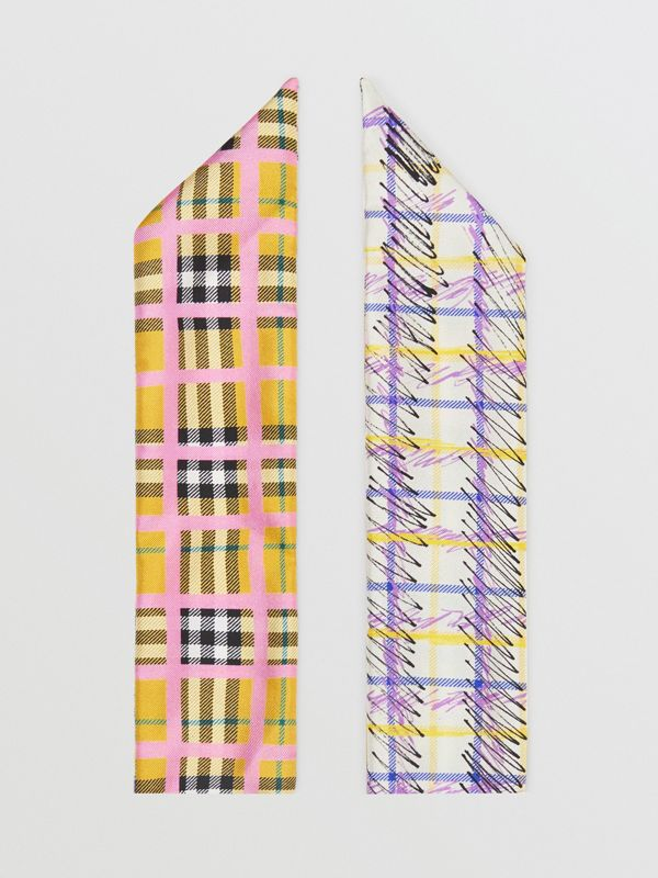 Scribble Check Silk Skinny Scarf in Bright Yellow - Women | Burberry - cell image 3