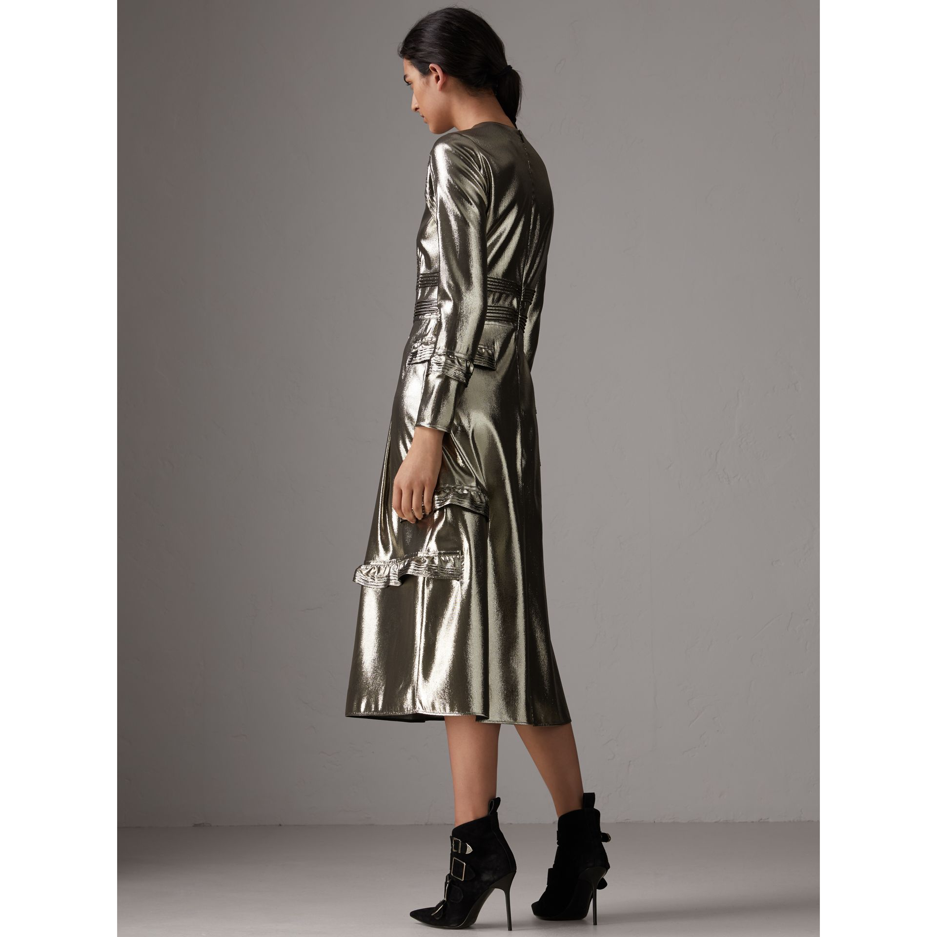 Long-sleeve Ruffle Detail Lamé Dress in Silver - Women | Burberry - gallery image 3