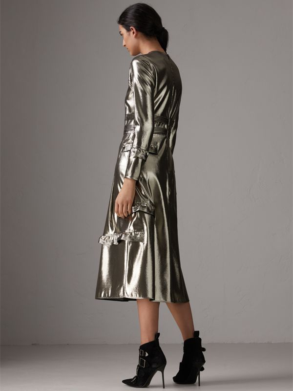 Long-sleeve Ruffle Detail Lamé Dress in Silver - Women | Burberry United Kingdom - cell image 2