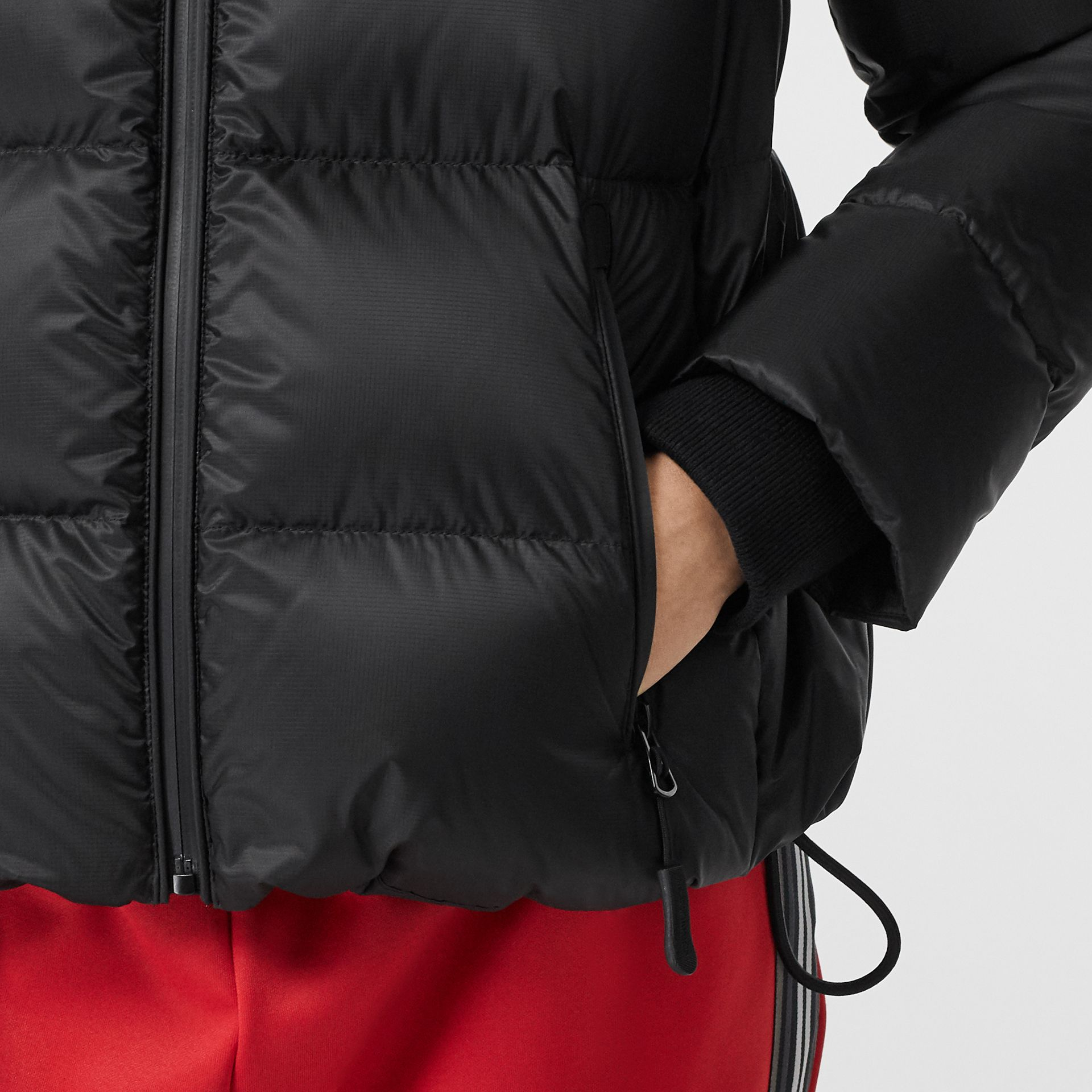 Logo Graphic Hooded Puffer Jacket in Black - Women | Burberry United Kingdom - gallery image 3