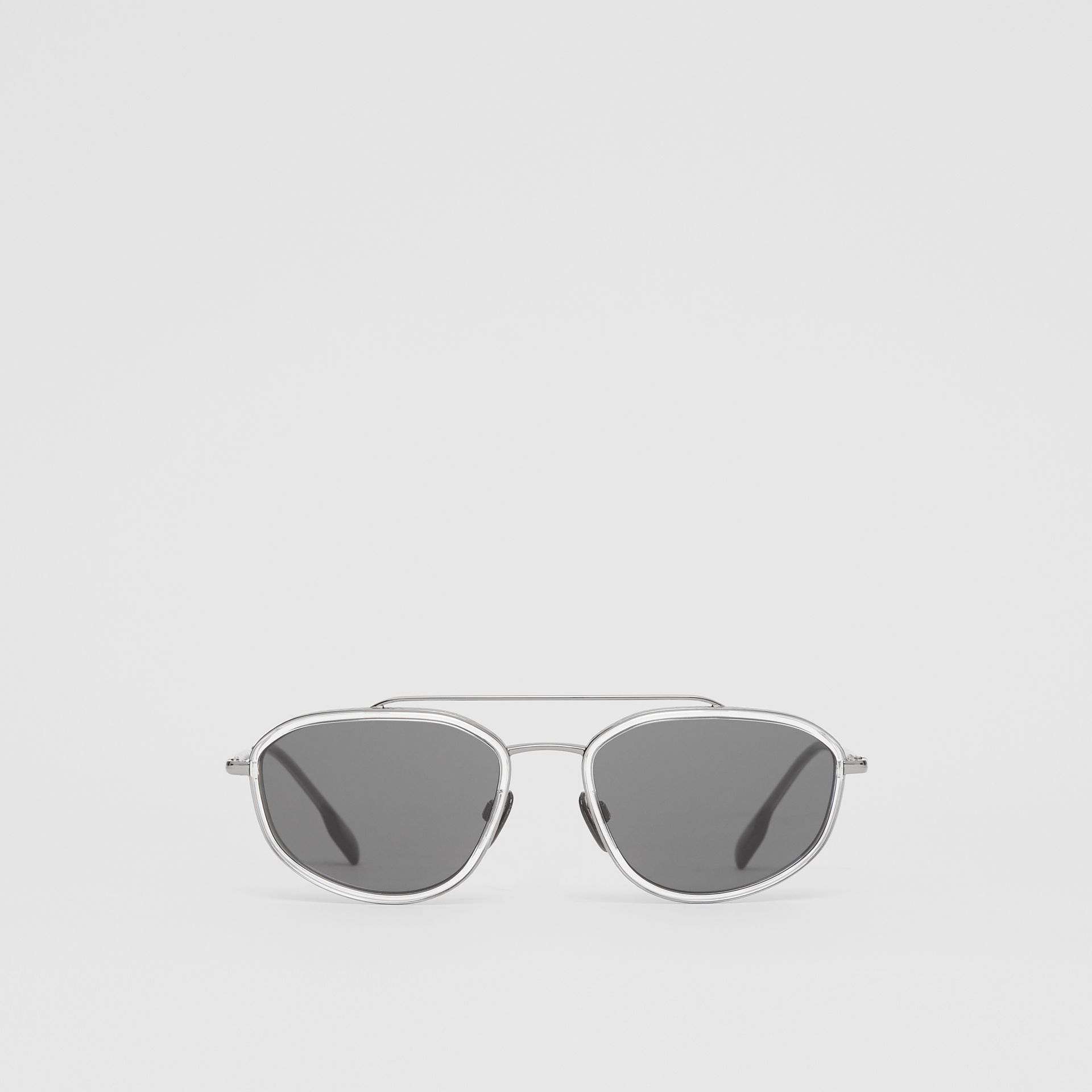 Geometric Navigator Sunglasses in Gunmetal Grey - Men | Burberry United Kingdom - gallery image 0