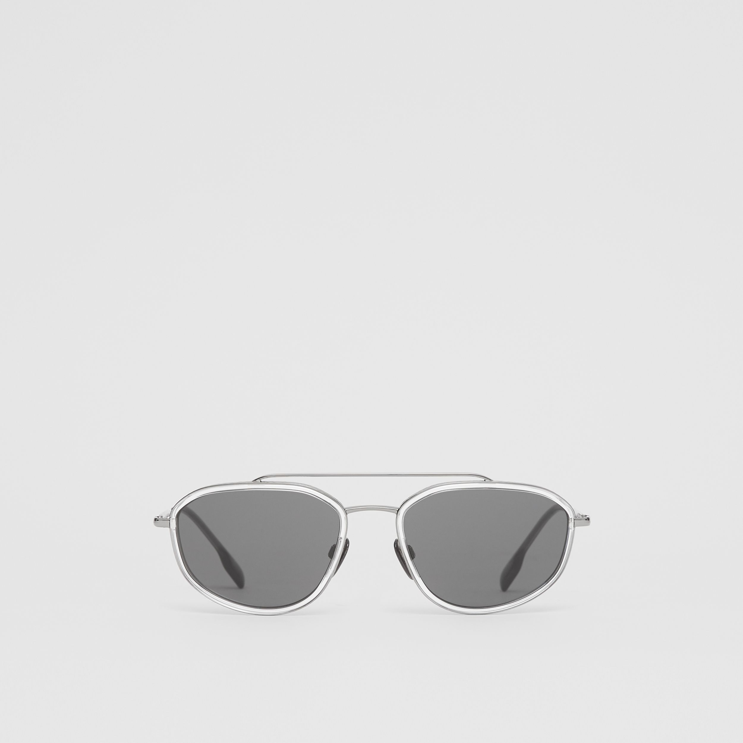 Geometric Navigator Sunglasses in Gunmetal Grey - Men | Burberry - 1