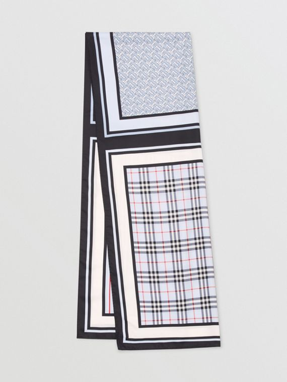 Monogram, Icon Stripe and Check Print Silk Scarf in Pale Blue
