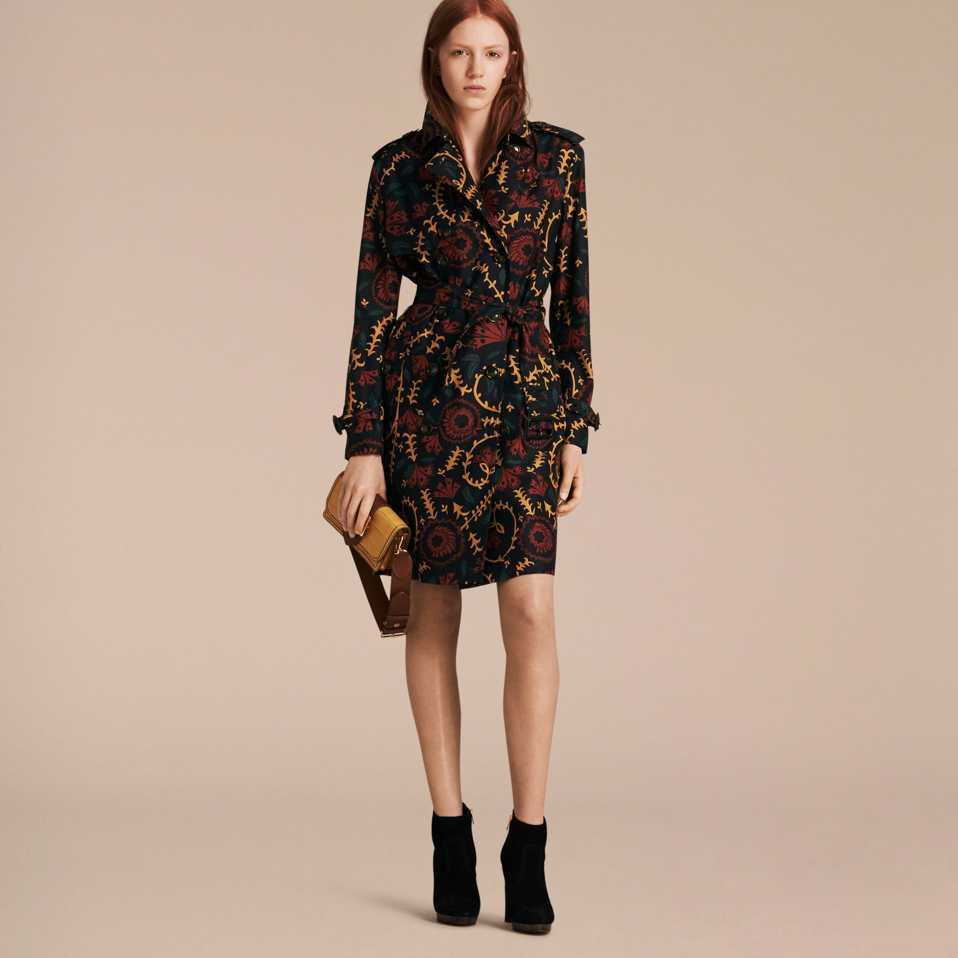 Navy Floral Print Silk Wool Trench Coat - gallery image 7