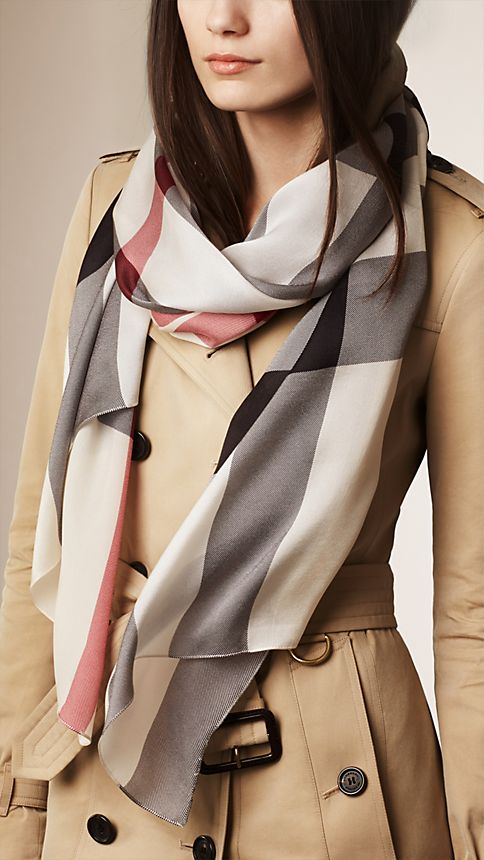 Trench check Check Silk Satin Scarf - Image 2