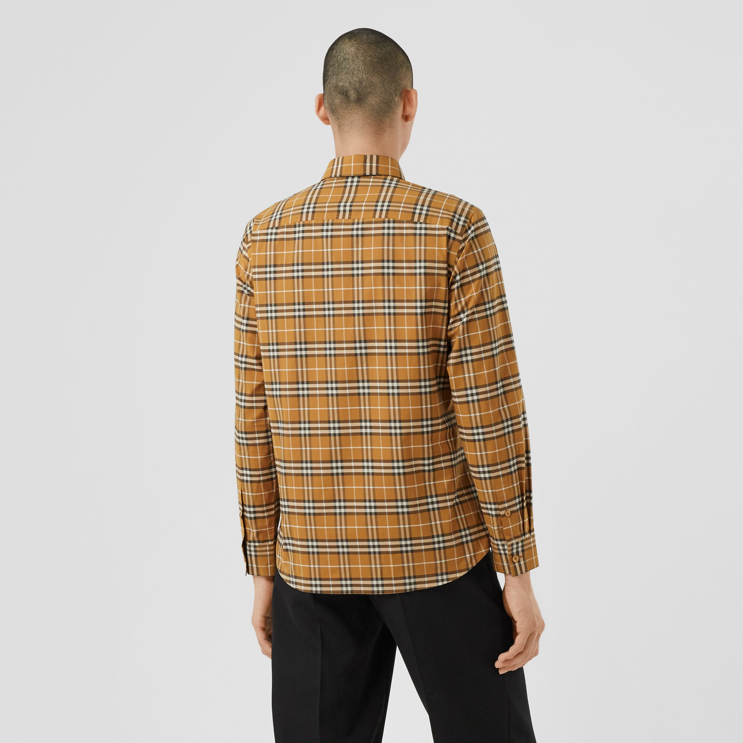 Small Scale Check Stretch Cotton Shirt in Bright Toffee - Men | Burberry Hong Kong S.A.R. - 3