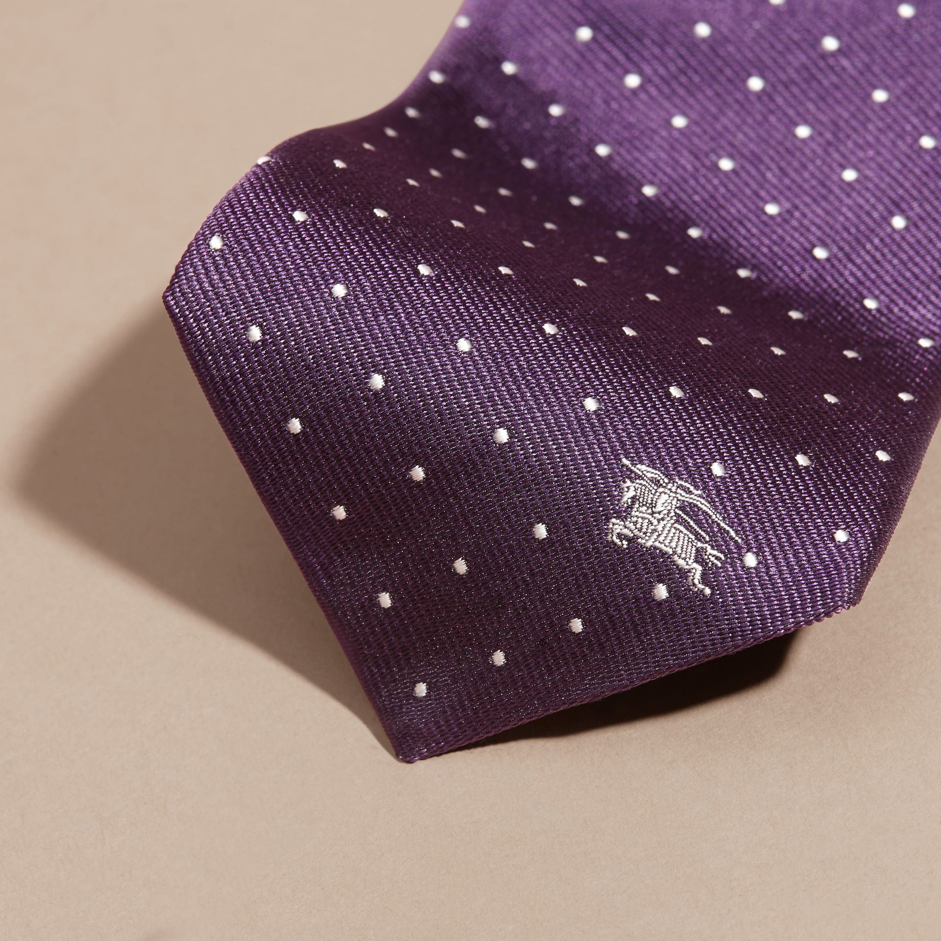 Dark purple Modern Cut Polka Dot Silk Tie Dark Purple - gallery image 2
