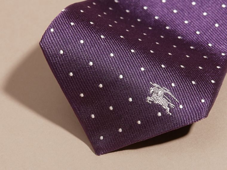 Dark purple Modern Cut Polka Dot Silk Tie Dark Purple - cell image 1