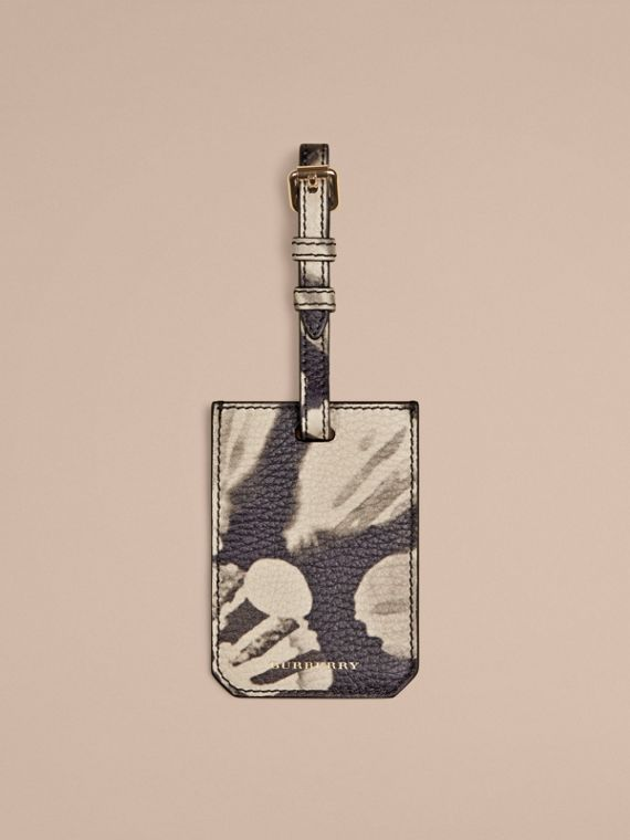 Tie-dye Print Grainy leather Luggage Tag Stone