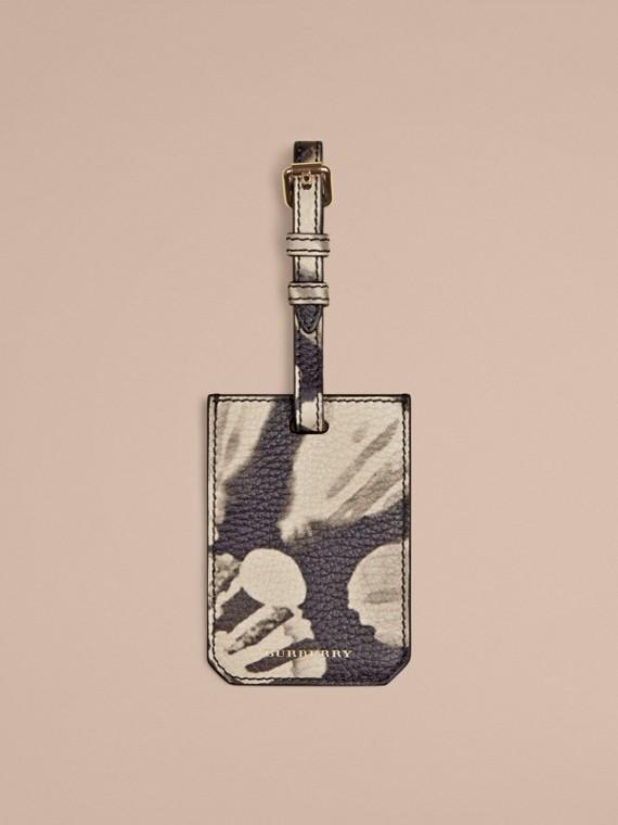 Targhetta porte adresse in pelle a grana con stampa tipo tintura a riserva Pietra