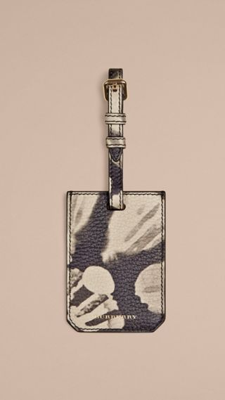 Tie-dye Print Grainy leather Luggage Tag