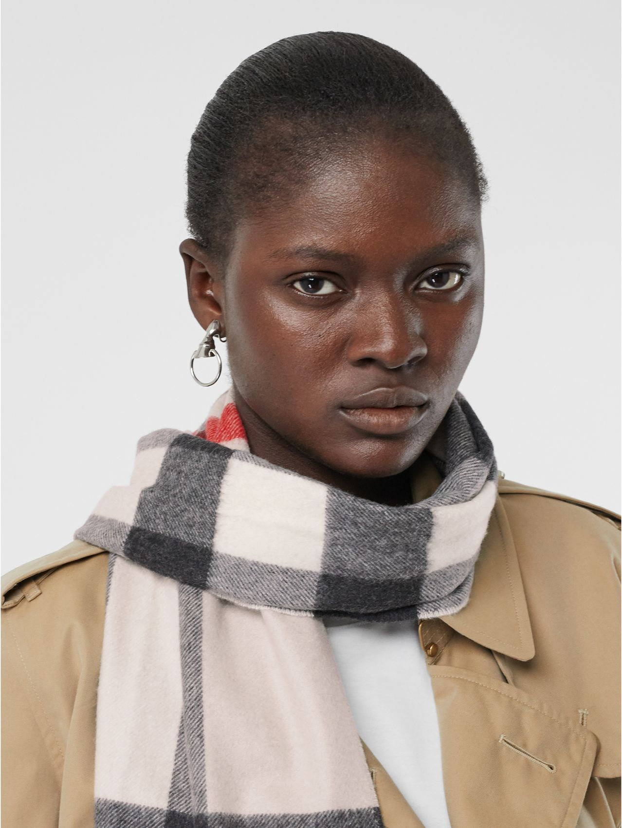Check Cashmere Scarf in Stone