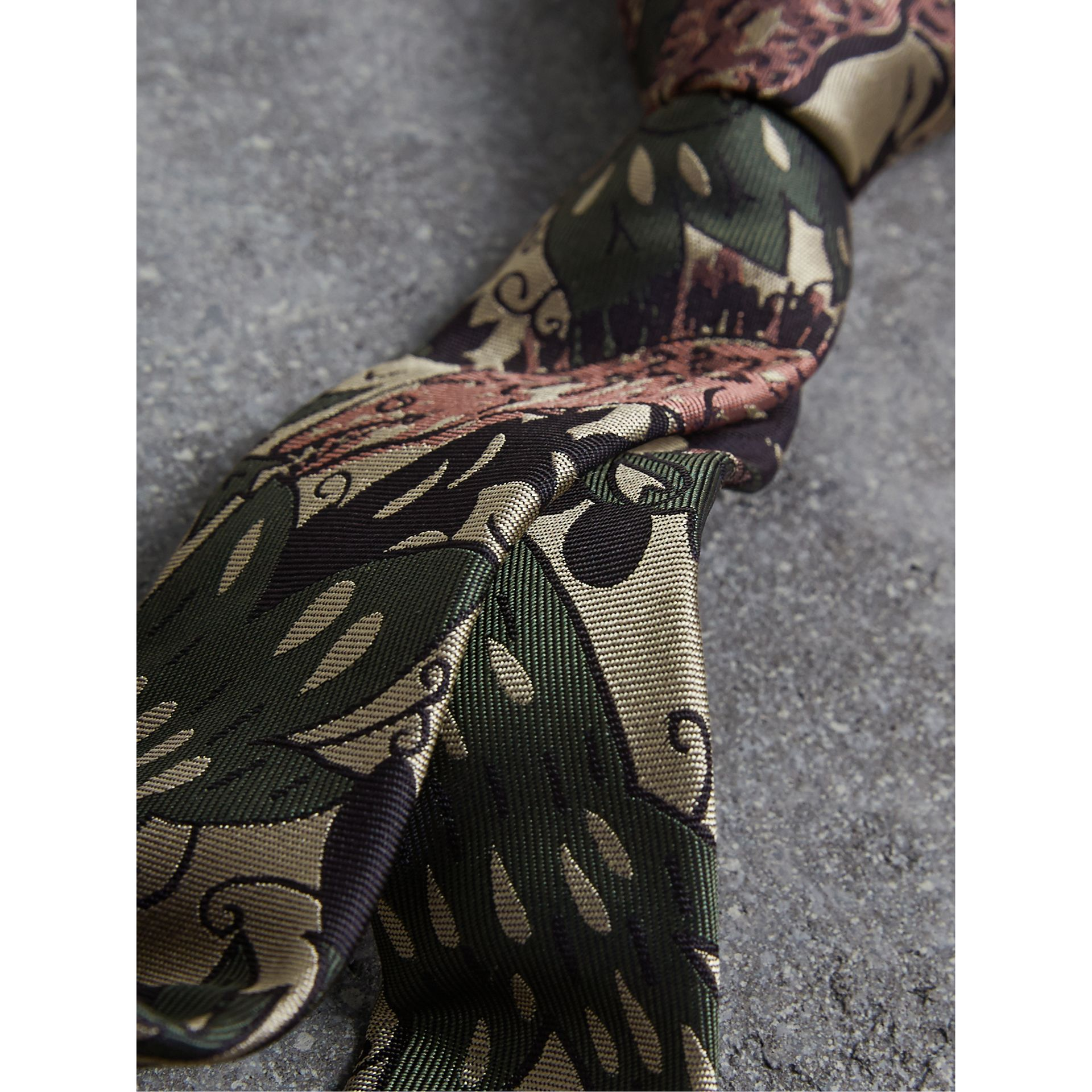 Slim Cut Beasts Silk Jacquard Tie in Chalk Green - Men | Burberry - gallery image 2