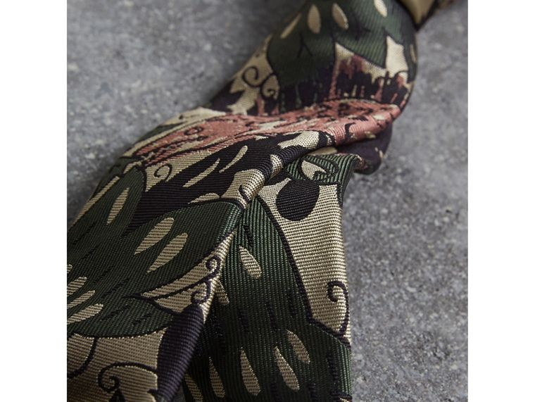 Slim Cut Beasts Silk Jacquard Tie in Chalk Green - Men | Burberry - cell image 1