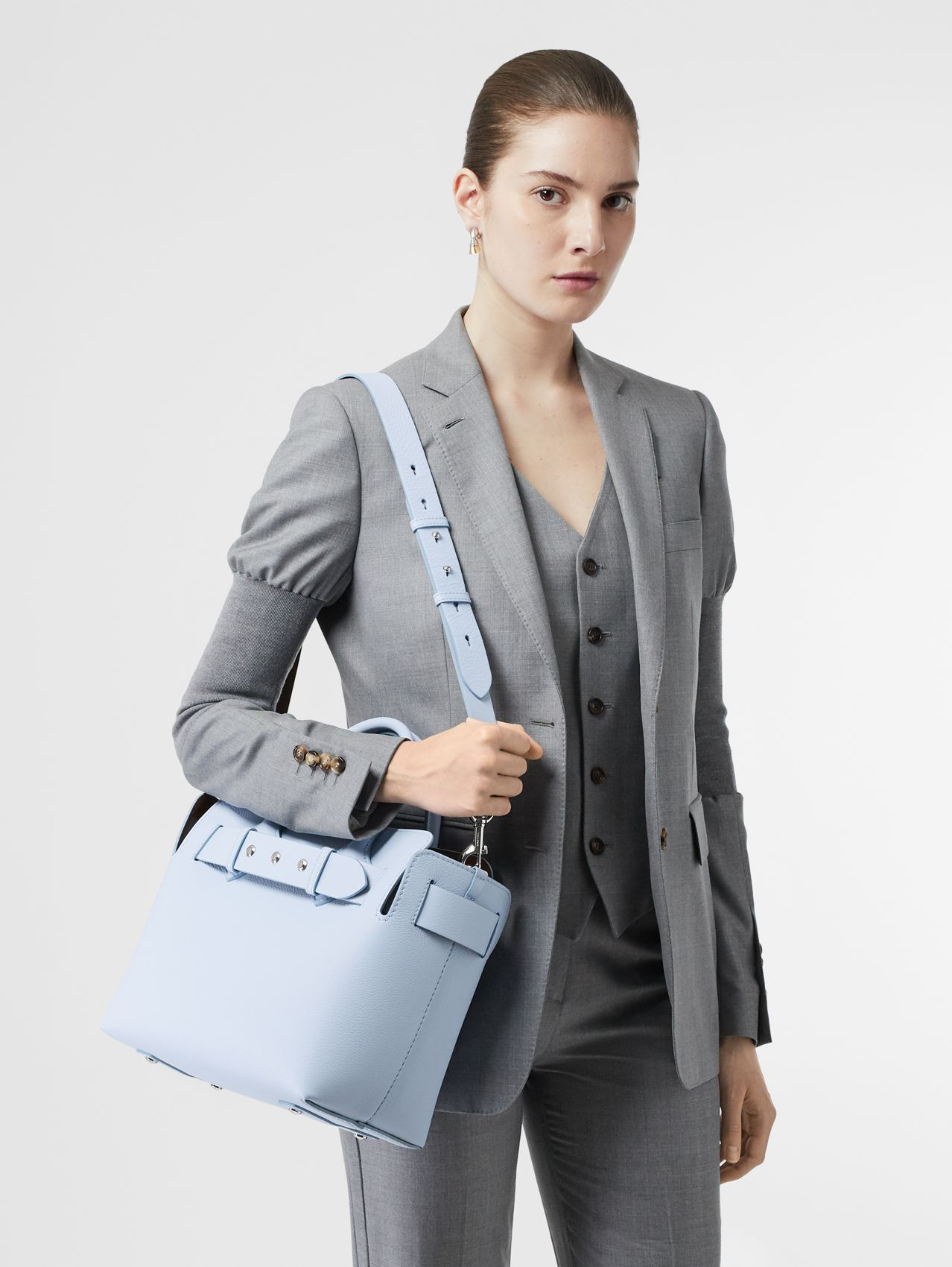 The Small Leather Triple Stud Belt Bag in Pale Blue