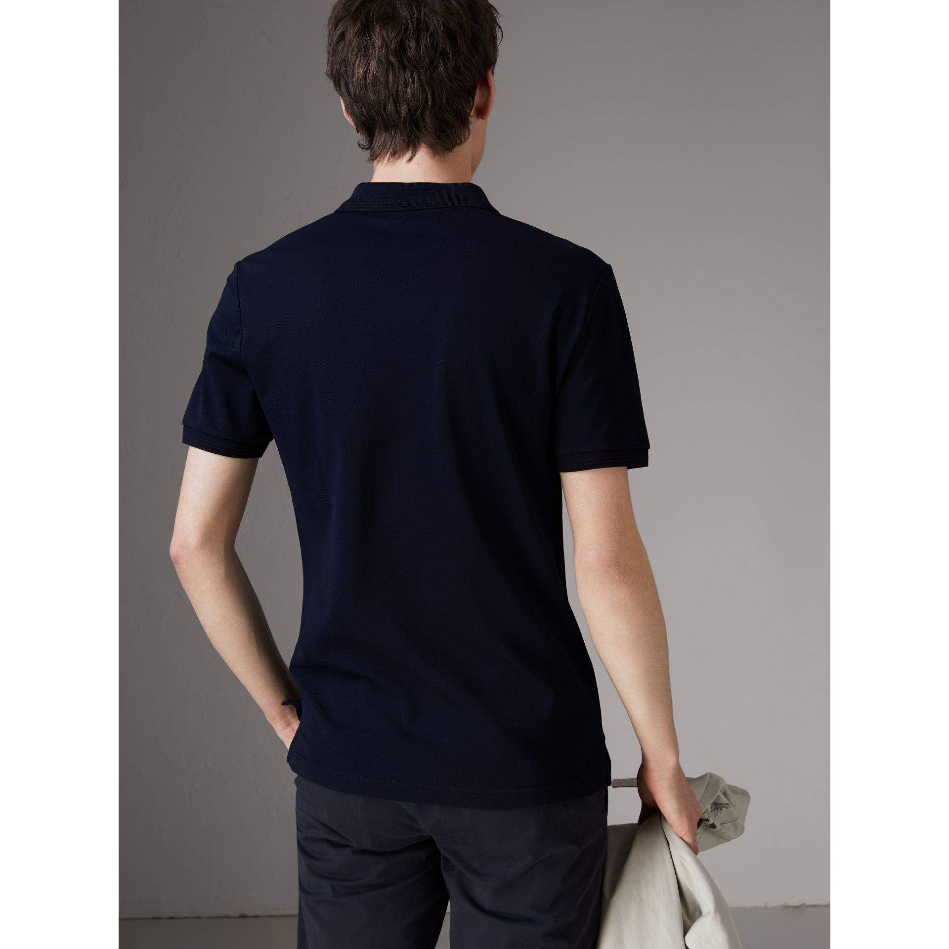 Cotton Piqué Polo Shirt in Navy - Men | Burberry Hong Kong - gallery image 2