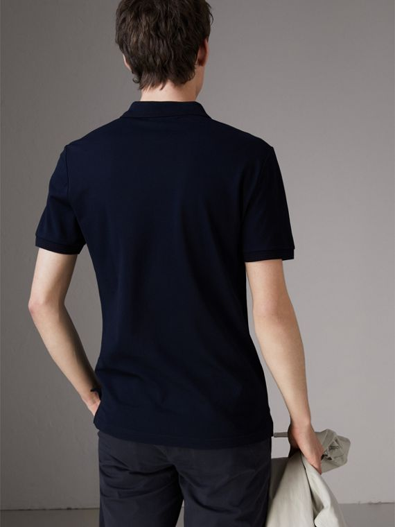 Cotton Piqué Polo Shirt in Navy - Men | Burberry United Kingdom - cell image 2