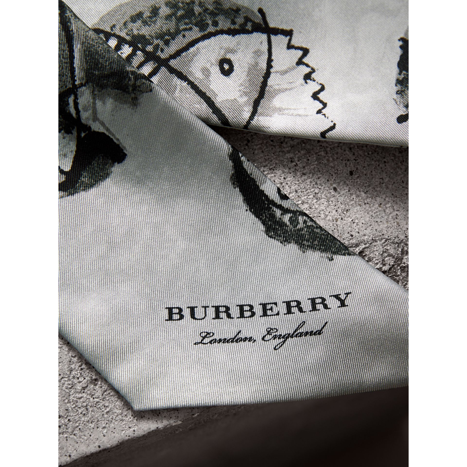 Pallas Heads Print Silk Slim Scarf in Grey - Women | Burberry Singapore - gallery image 2