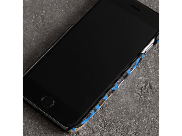 Graffiti Print Vintage Check Leather iPhone 8 Case in Canvas Blue/antique Yellow | Burberry Australia - cell image 2