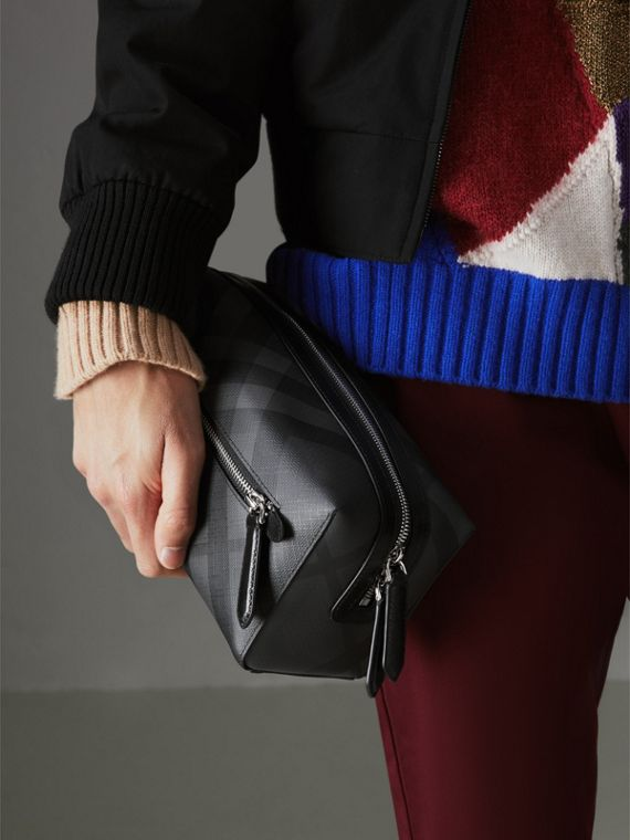 London Check and Leather Pouch in Charcoal/black | Burberry Singapore - cell image 3